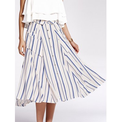 Striped Pockets Single-Breasted Shirt Skirt