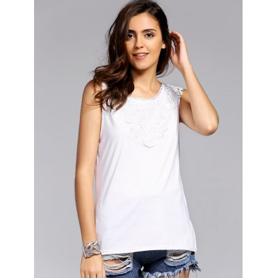 Fashion Round Neck Lacing Spliced Tank Top For Women
