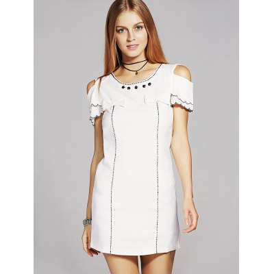 Sweet Round Neck Cold Shoulder Bowknot Embellished Dress For Women