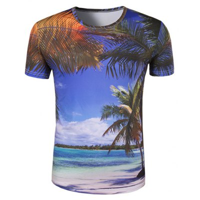 Round Collar 3D Coconut Palm Printing T-Shirt For Men