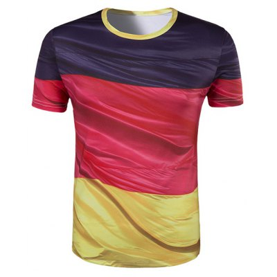 Round Collar Color Block Printing T-Shirt For Men