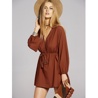 Plunging Neck Long Sleeve A-Line Dress For Women