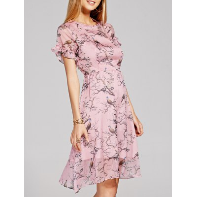 Pull Ruffle Sleeve Bird Print Skater Dress For Women