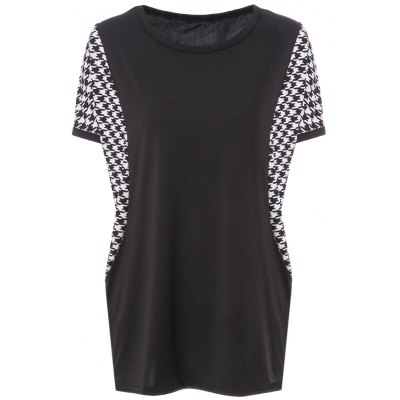 Scoop Neck Dolman Sleeve Houndstooth T-Shirt For Women