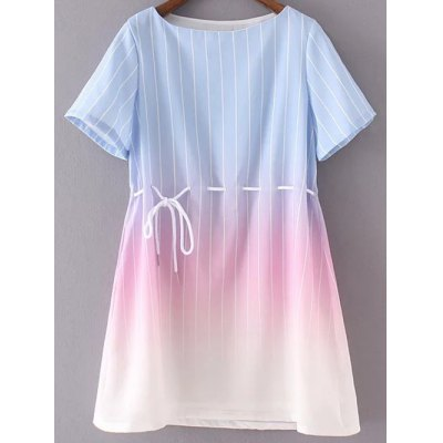 Fashion Round Neck Short Sleeve Ombre Striped Dress For Women