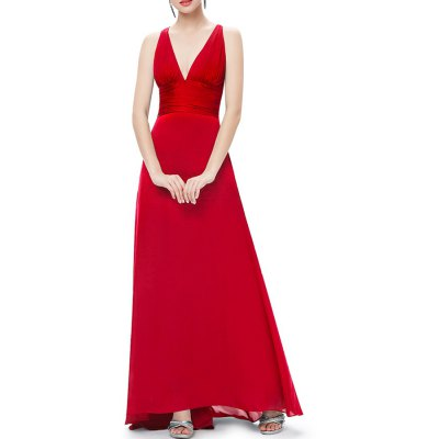 Plunging Neck A Line Maxi Evening Ball Gown Dress