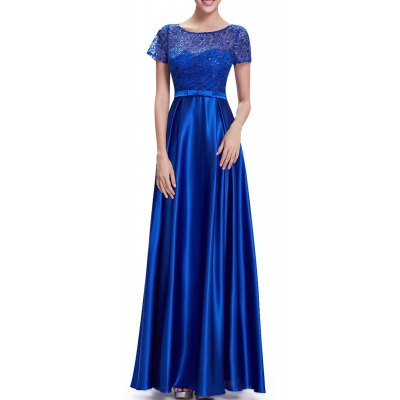 Sequined Lace Splicing Maxi Prom Dress