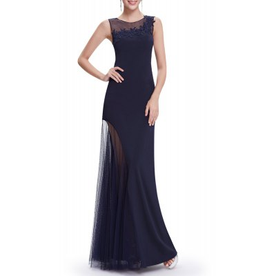 Voile Splicing See-Through Maxi Prom Dress
