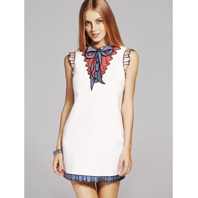 Stand Neck Sequins Bowknot Embroidery Dress