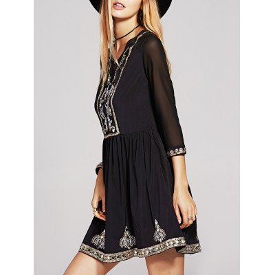 3/4 Sleeve Sequins Beaded Embroidery Dress