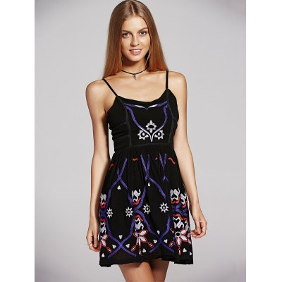 Ethnic Style Waisted Embroidery Cami Dress For Women