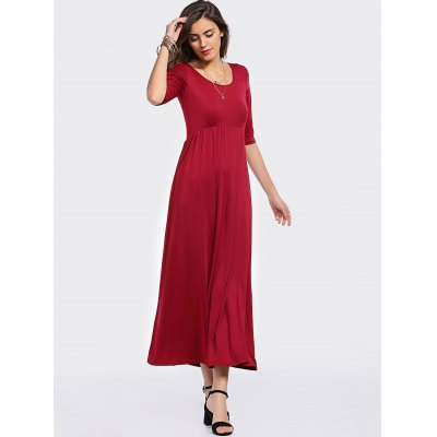 Fashion Scoop Neck 3/4 Sleeve High Waisted Red Dress For Women