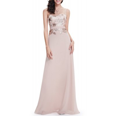 See-Through Sequined Maxi Prom Dress
