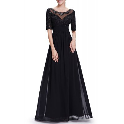 Sequined Half Sleeve Maxi Evening Dress