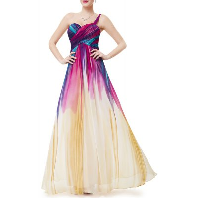 One-Shoulder Colorful Maxi Evening Dress