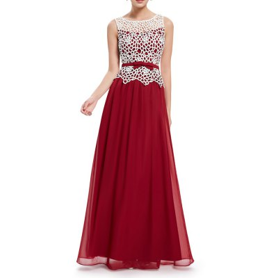 Lace Splicing Pleated Maxi Evening Dress