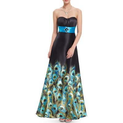Strapless Peacock Print Prom Maxi Dress