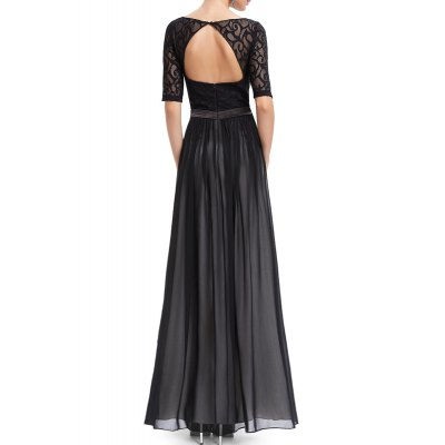 Lace Splicing Backless Prom DressDesigner Dresses<br>Lace Splicing Backless Prom Dress<br><br>Fit: Plus Size<br>Style: A Line<br>Occasion: Formal<br>Material: Polyester<br>Composition: 100% Polyester<br>Dresses Length: Floor-Length<br>Neckline: Round Collar<br>Sleeve Length: Half Sleeves<br>Embellishment: Lace<br>Pattern Type: Solid<br>With Belt: No<br>Season: Summer<br>Weight: 0.570kg<br>Package Contents: 1 x Dress
