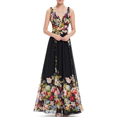 Flower Print Plunging Neck Backless Prom Dress