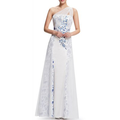One-Shoulder Printed Maxi Prom Dress