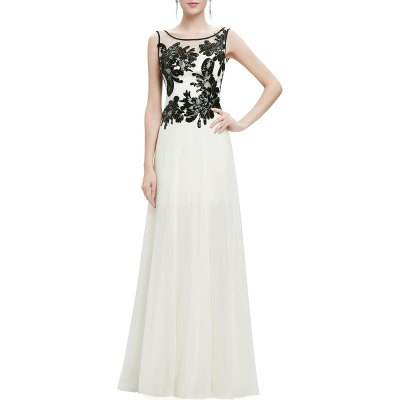 Scoop Neck Sequined Lace Splicing Maxi Prom Dress