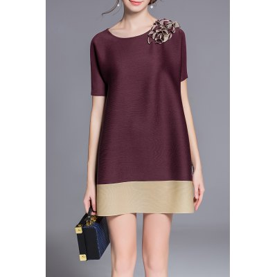 A-Line Appliqued Bicolor Dress