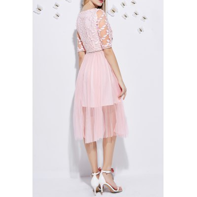 Embroidery Gauze Splicing DressDesigner Dresses<br>Embroidery Gauze Splicing Dress<br><br>Style: Active<br>Occasion: Cocktail &amp; Party,Work<br>Material: Polyester<br>Composition: Outer Composition:100% Polyester&lt;br&gt;Lining Composition:100% Polyester<br>Silhouette: Pleated<br>Dresses Length: Mid-Calf<br>Neckline: Jewel Neck<br>Sleeve Length: Half Sleeves<br>Pattern Type: Patchwork<br>With Belt: No<br>Season: Spring,Summer<br>Weight: 0.270kg<br>Package Contents: 1 x Dress