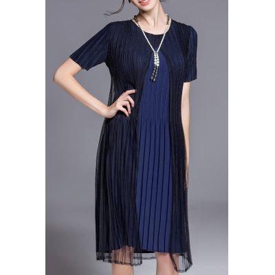 Pleated Two-Layer Dress