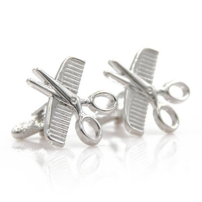 Pair of Stylish Scissors Comb Shape Cufflinks For Men