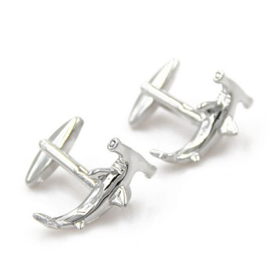 Pair of Stylish Personality Silver Sickle Shape Cufflinks For Men