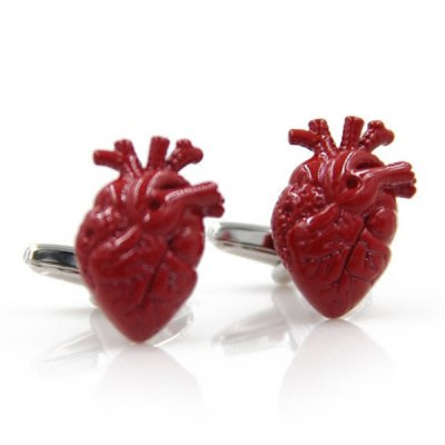 Pair of Stylish Red Human Heart Shape Cufflinks For Men