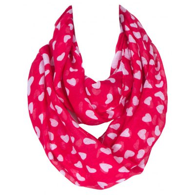 White Heart Pattern Red Voile Infinity Scarf Shawl Wrap For Kids