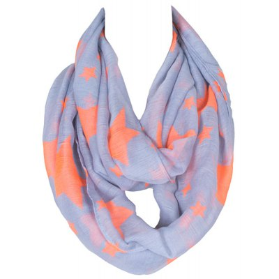 Various Five-Pointed Stars Print Voile Infinity Scarf For Girls