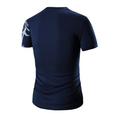 Round Neck Printed Short Sleeve T-Shirt For MenMens Short Sleeve Tees<br>Round Neck Printed Short Sleeve T-Shirt For Men<br><br>Collar: Round Neck<br>Material: Cotton, Polyester<br>Package Contents: 1 x T-Shirt<br>Pattern Type: Print<br>Sleeve Length: Short<br>Style: Casual<br>Weight: 0.166kg