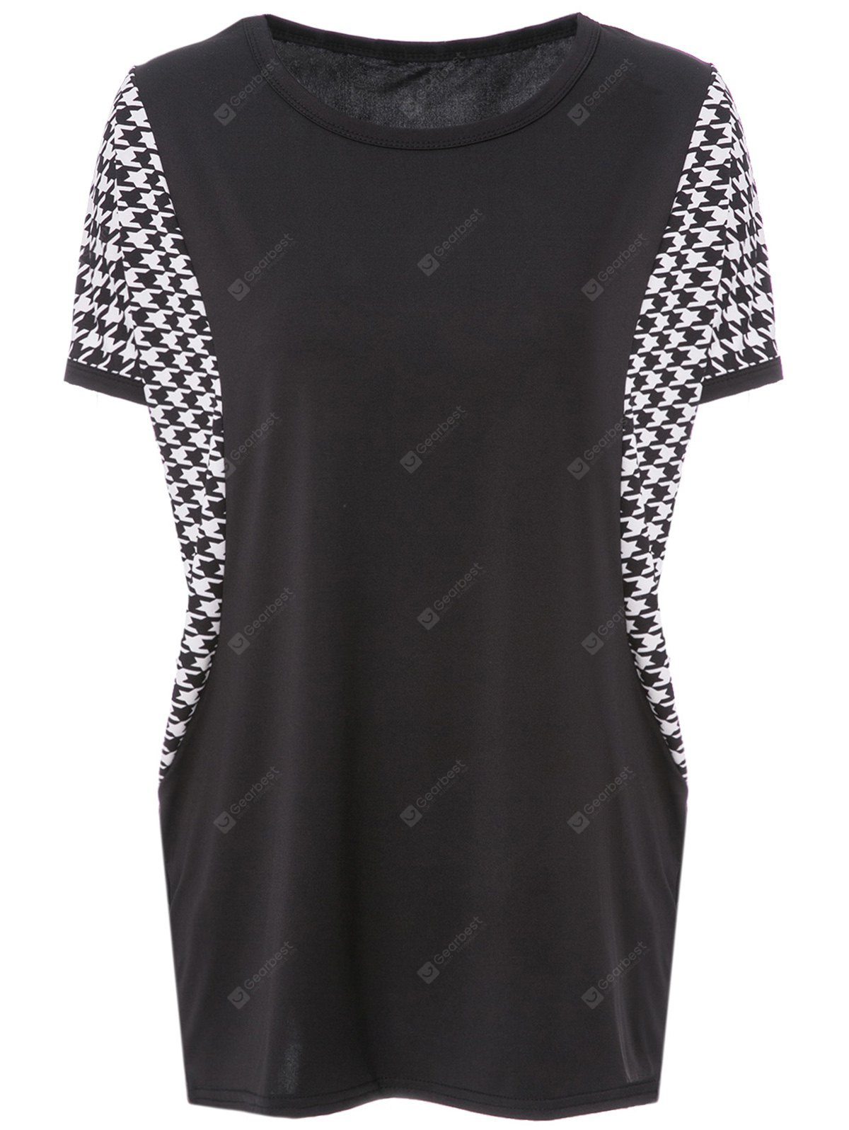 Stylish Scoop Neck Dolman Sleeve Houndstooth T-Shirt For Women