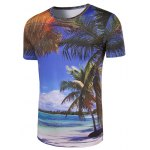 cheap Slim Fit Round Collar 3D Coconut Palm Printing T-Shirt For Men