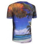 Slim Fit Round Collar 3D Coconut Palm Printing T-Shirt For Men deal