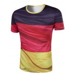 cheap Slim Fit Round Collar Color Block Printing T-Shirt For Men