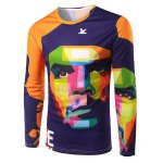 Slim Fit Round Collar Che Guevara Printing T-Shirt For Men