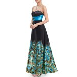 Strapless Peacock Print Maxi Prom Dress for sale