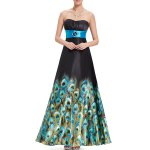 Strapless Peacock Print Maxi Prom Dress deal