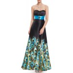 Strapless Peacock Print Maxi Prom Dress