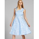 cheap Chic V-Neck Sleeveless Floral Print Fit and Flare Dress For Women