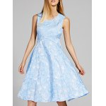 Chic V-Neck Sleeveless Floral Print Fit and Flare Dress For Women