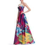Strapless Floral Print Maxi Evening Dress for sale