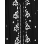 best Ethnic Style V-Neck 3/4 Sleeve Floral Embroidery Midi Dress For Women