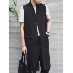 Stand Collar Lengthen Lace-Up Design Waistcoat For Men deal