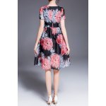 cheap Floral Print Defined Dress