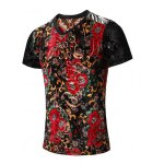 cheap PU Leather Spliced Floral Print Short Sleeves V-Neck T-Shirt For Men