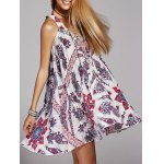 Bohemian V-Neck Lace Up Printed Dress For Women